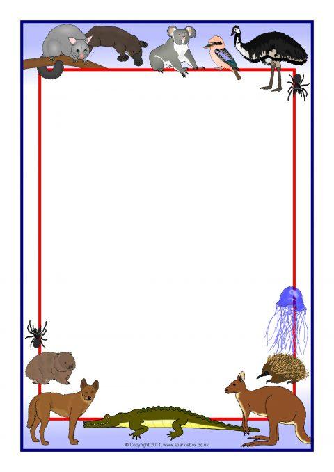 australian animals a4 page borders sb4821 sparklebox