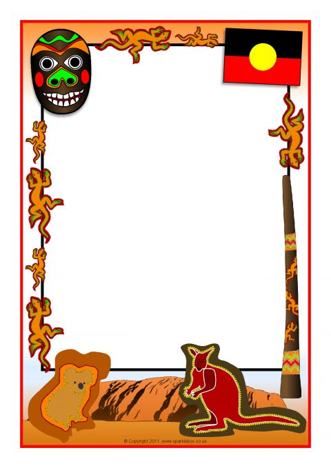 aboriginal themed a4 page borders  sb4828  sparklebox Spain Flag 2015 Chinese Flag Clip Art