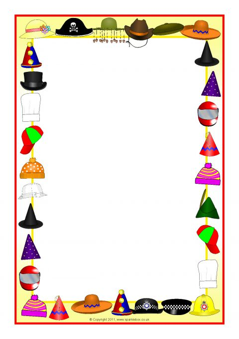 hats-themed a4 page borders  sb6374