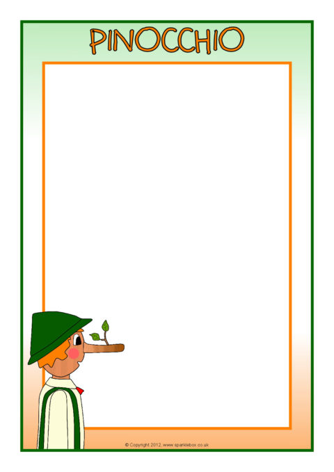 Pinocchio teaching resources story sack printables sparklebox pinocchio a4 page borders sb8820 maxwellsz