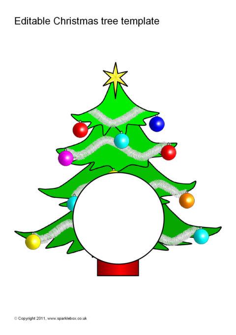 Editable Christmas Tree Template Sb6357 Sparklebox
